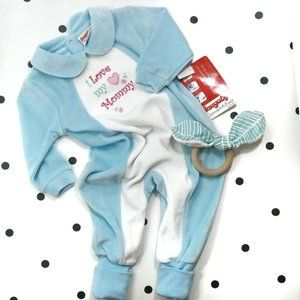 NWT Vintage Snugabye Velour Pajamas Size 6 M